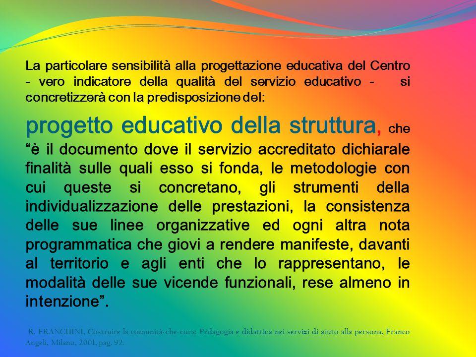 La particolare sensibilità alla progettazione educativa del Centro - vero indicatore della qualità del servizio educativo - si concretizzerà con la pr
