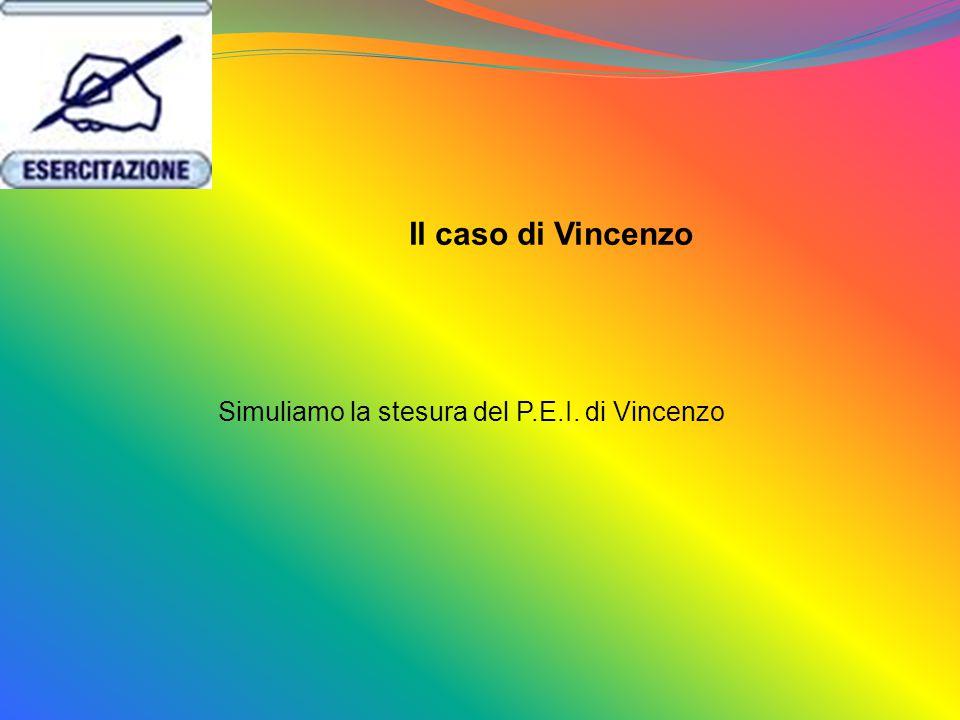Simuliamo la stesura del P.E.I. di Vincenzo Il caso di Vincenzo
