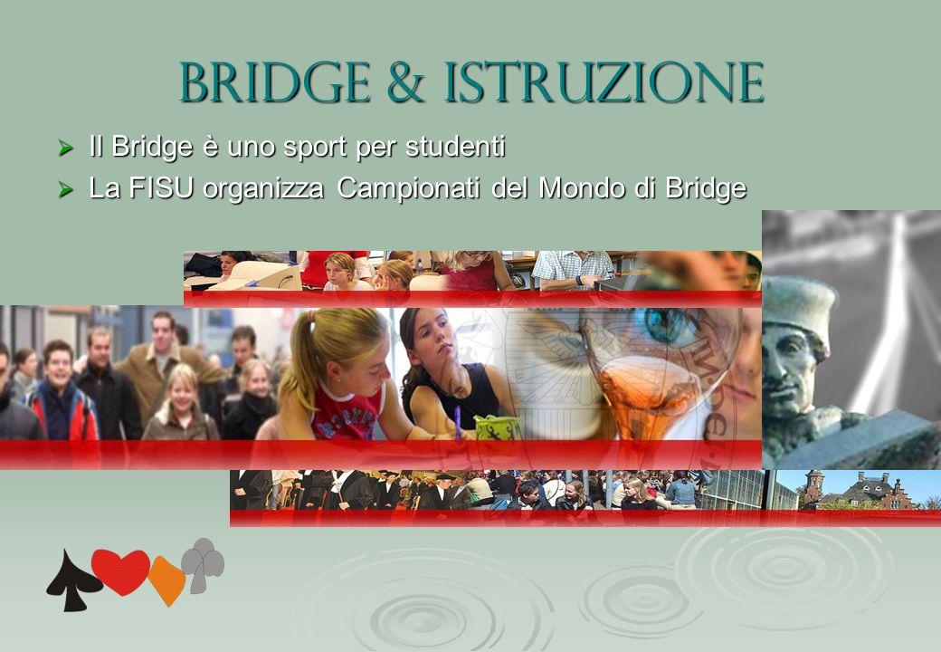 Bridge & istruzione  Il Bridge è uno sport per studenti  La FISU organizza Campionati del Mondo di Bridge