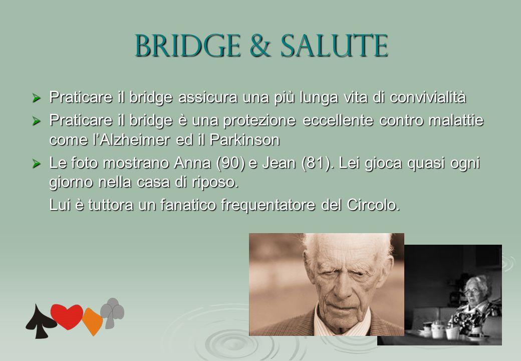 Bridge & salute  Praticare il bridge assicura una più lunga vita di convivialità  Praticare il bridge è una protezione eccellente contro malattie come l'Alzheimer ed il Parkinson  Le foto mostrano Anna (90) e Jean (81).