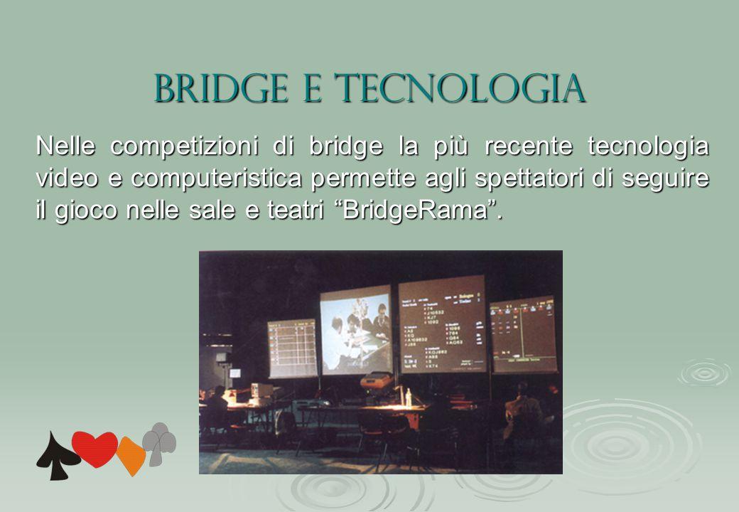 Bridge e Tecnologia Nelle competizioni di bridge la più recente tecnologia video e computeristica permette agli spettatori di seguire il gioco nelle sale e teatri BridgeRama .