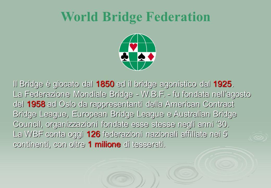 World Bridge Federation Il Bridge è giocato dal 1850 ed il bridge agonistico dal 1925. La Federazione Mondiale Bridge - W.B.F. - fu fondata nell'agost