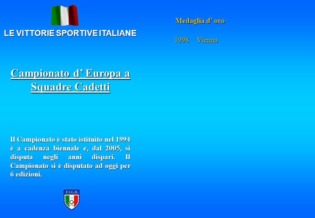 LE VITTORIE SPORTIVE ITALIANE Medaglia d' oro 1998Vienna Il Campionato è stato istituito nel 1994 è a cadenza biennale e, dal 2005, si disputa negli anni dispari.
