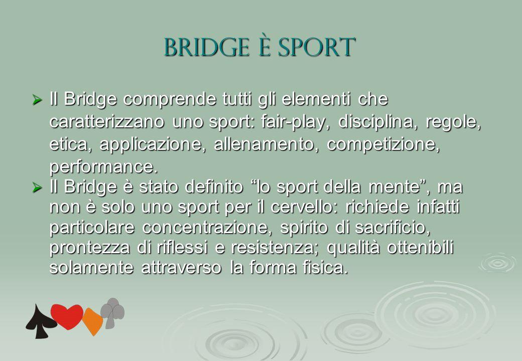 BRIDGE è SPORT  Il Bridge comprende tutti gli elementi che caratterizzano uno sport: fair-play, disciplina, regole, etica, applicazione, allenamento, competizione, performance.