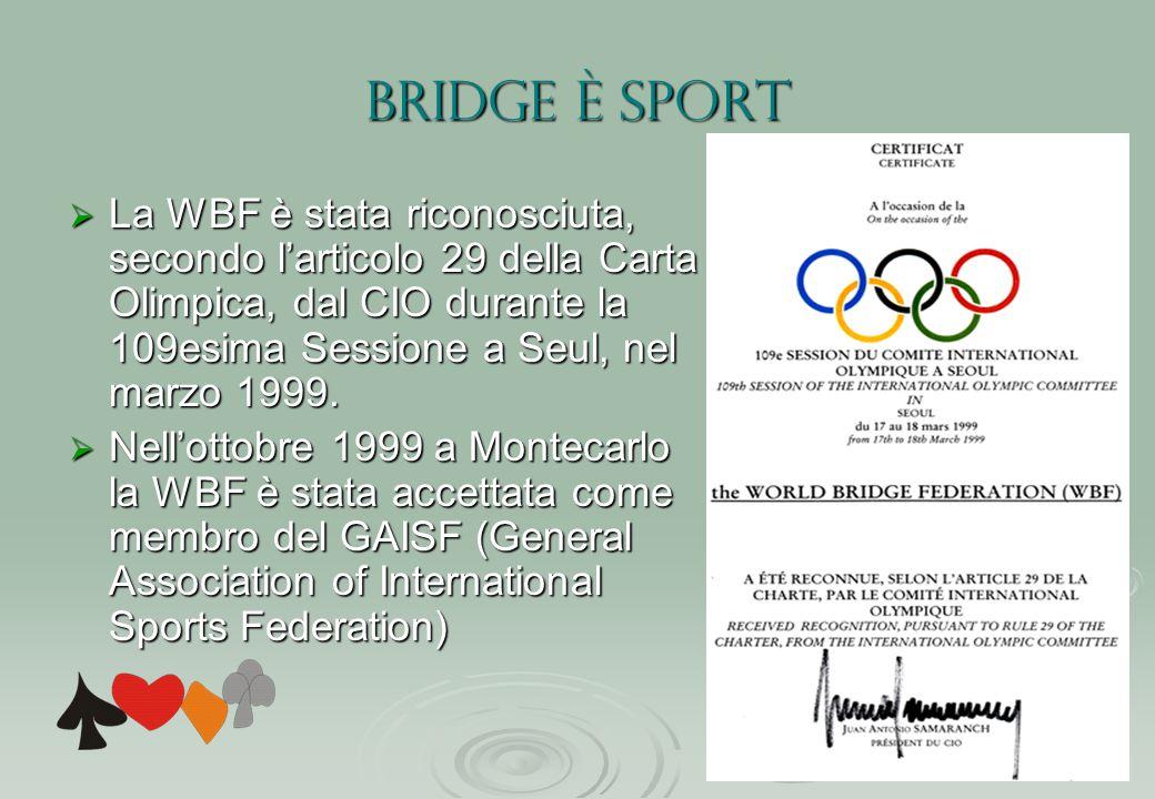 BRIDGE è SPORT  La WBF è stata riconosciuta, secondo l'articolo 29 della Carta Olimpica, dal CIO durante la 109esima Sessione a Seul, nel marzo 1999.