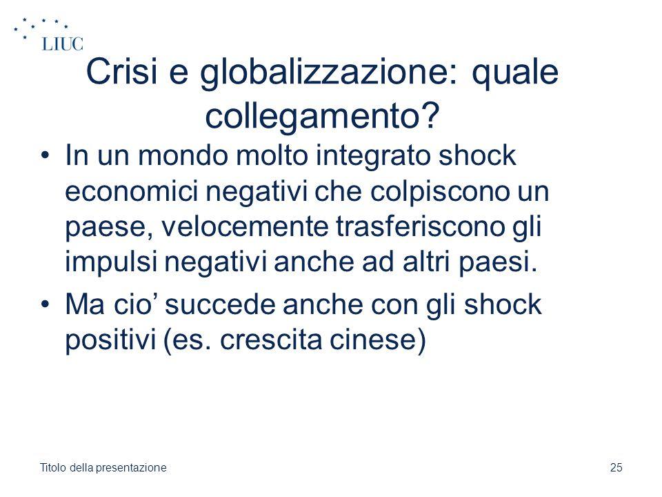 Crisi e globalizzazione: quale collegamento? In un mondo molto integrato shock economici negativi che colpiscono un paese, velocemente trasferiscono g