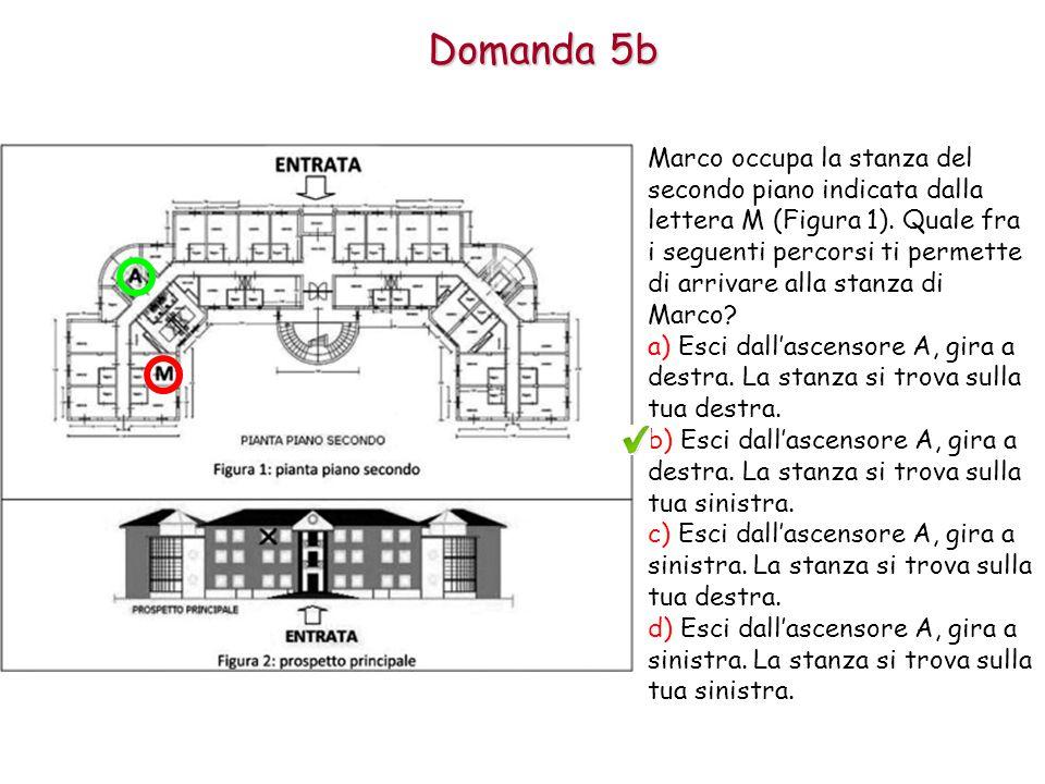 Domanda 5b Marco occupa la stanza del secondo piano indicata dalla lettera M (Figura 1).
