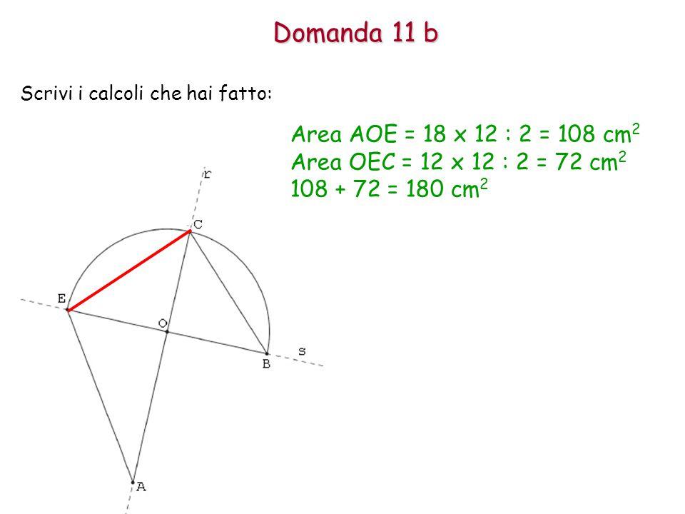 Domanda 11 b Scrivi i calcoli che hai fatto: Area AOE = 18 x 12 : 2 = 108 cm 2 Area OEC = 12 x 12 : 2 = 72 cm 2 108 + 72 = 180 cm 2