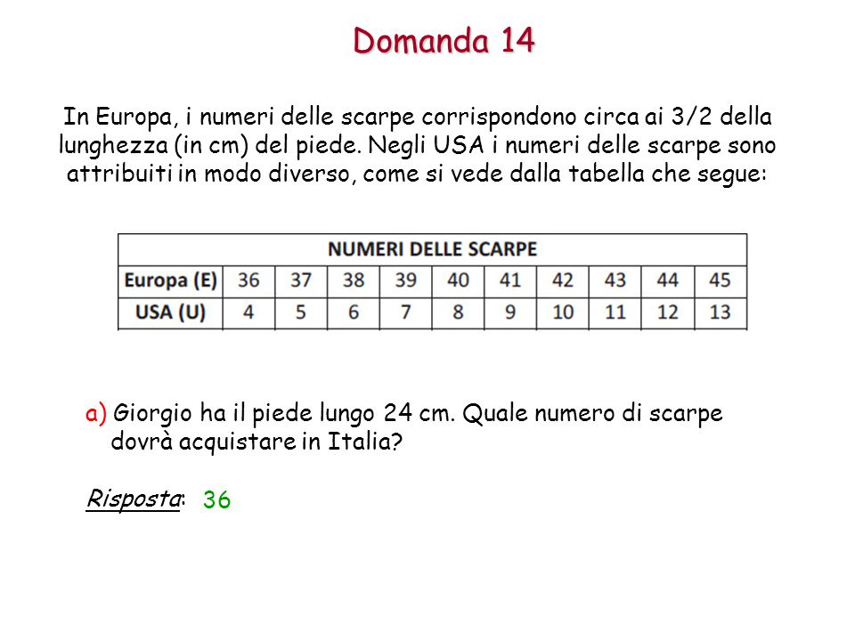 Domanda 14 a) Giorgio ha il piede lungo 24 cm.Quale numero di scarpe dovrà acquistare in Italia.