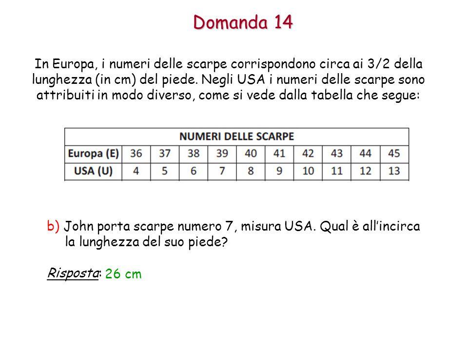 Domanda 14 b) John porta scarpe numero 7, misura USA.