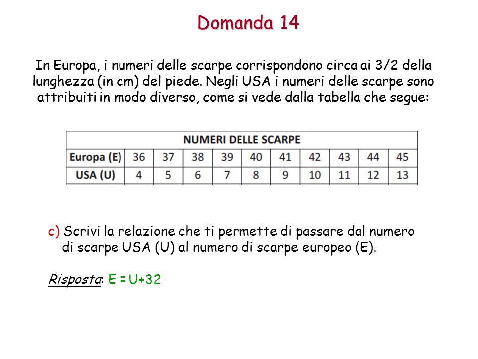 Domanda 14 In Europa, i numeri delle scarpe corrispondono circa ai 3/2 della lunghezza (in cm) del piede.