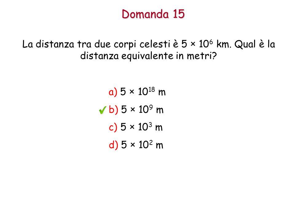 Domanda 15 La distanza tra due corpi celesti è 5 × 10 6 km.