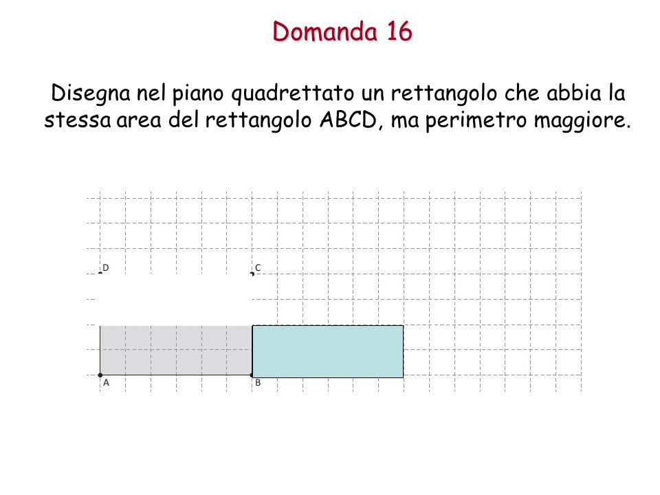 Domanda 16 Disegna nel piano quadrettato un rettangolo che abbia la stessa area del rettangolo ABCD, ma perimetro maggiore.