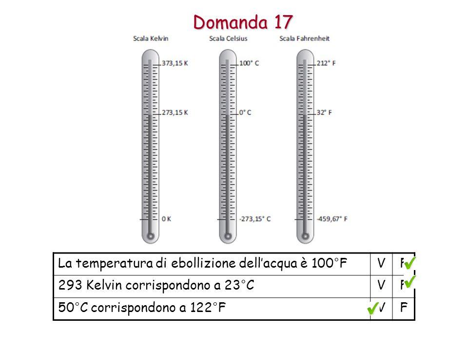 Domanda 17 La temperatura di ebollizione dell'acqua è 100°FVF 293 Kelvin corrispondono a 23°CVF 50°C corrispondono a 122°FVF