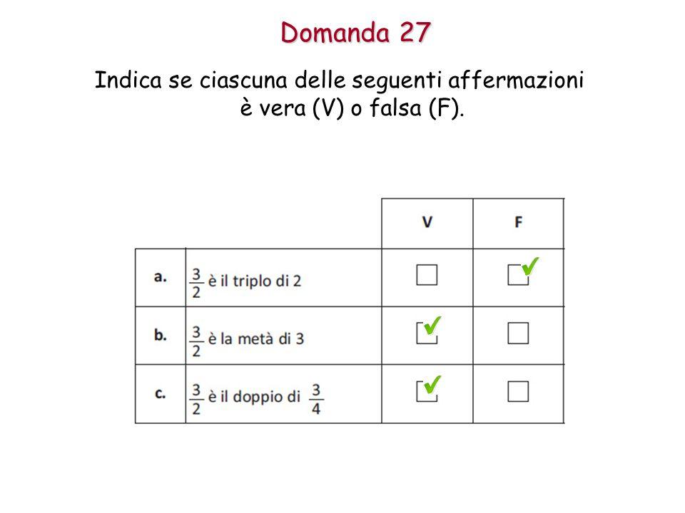 Domanda 27 Indica se ciascuna delle seguenti affermazioni è vera (V) o falsa (F).