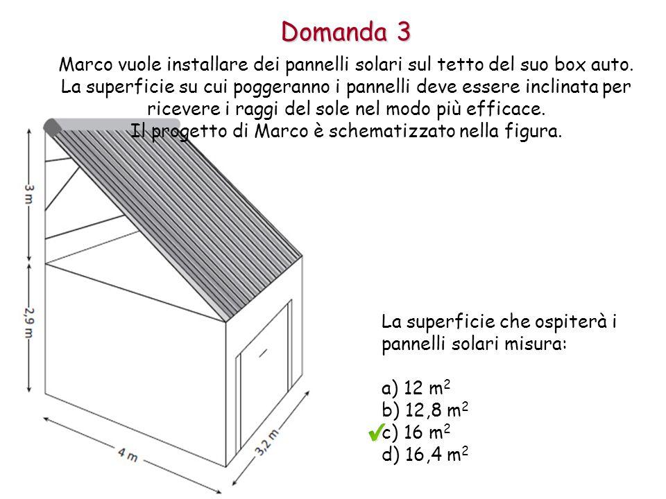 Domanda 3 Marco vuole installare dei pannelli solari sul tetto del suo box auto.