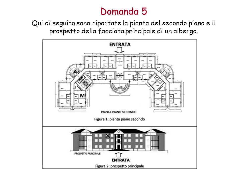 Domanda 5 Qui di seguito sono riportate la pianta del secondo piano e il prospetto della facciata principale di un albergo.