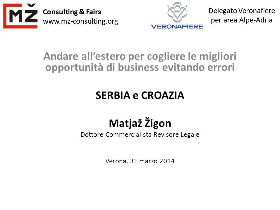 Consulting & Fairs www.mz-consulting.org Delegato Veronafiere per area Alpe-Adria Consulting & Fairs www.mz-consulting.org Andare all'estero per cogli