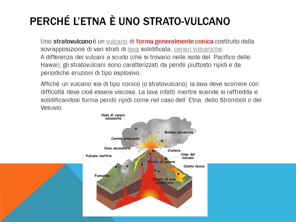 PERCHÉ L'ETNA È UNO STRATO-VULCANO Uno stratovulcano è un vulcano di forma generalmente conica costituito dalla sovrapposizione di vari strati di lava