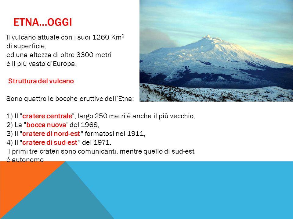 ETNA…OGGI Il vulcano attuale con i suoi 1260 Km 2 di superficie, ed una altezza di oltre 3300 metri è il più vasto d'Europa. Struttura del vulcano. So