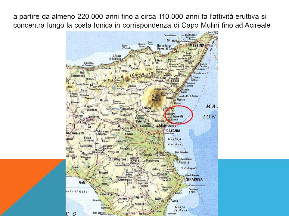 Fase dei Centri eruttivi della Valle del Bove: circa 110.000 anni fa l'attività eruttiva si sposta dalla zona della costa Ionica verso l'area adesso occupata dalla Valle del Bove.