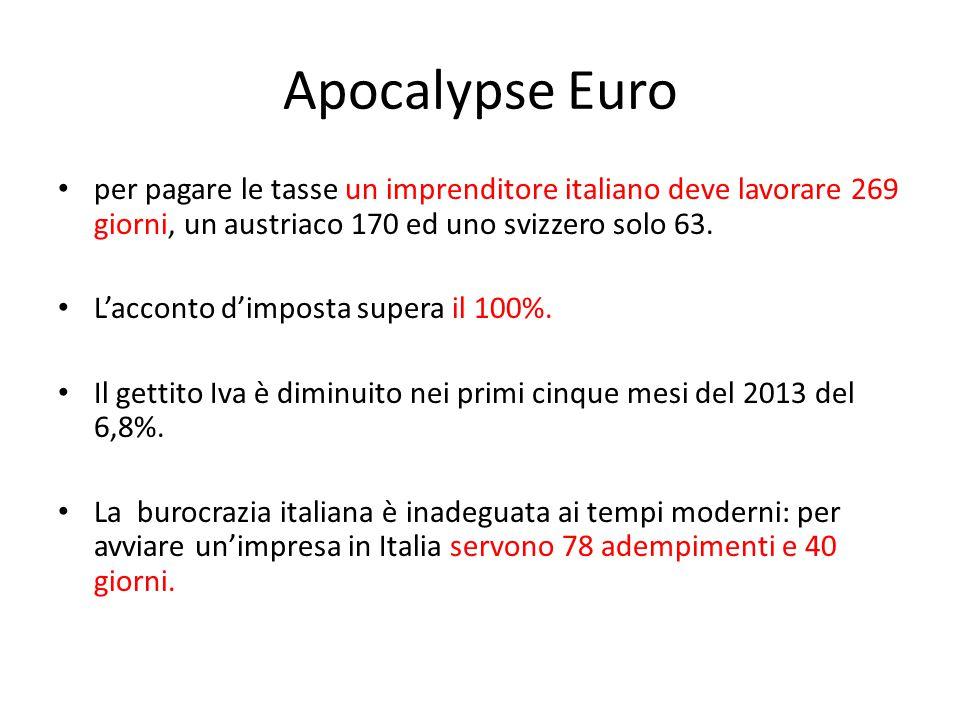 Apocalypse Euro per pagare le tasse un imprenditore italiano deve lavorare 269 giorni, un austriaco 170 ed uno svizzero solo 63.