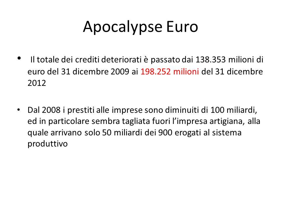 Apocalypse Euro Il totale dei crediti deteriorati è passato dai 138.353 milioni di euro del 31 dicembre 2009 ai 198.252 milioni del 31 dicembre 2012 Dal 2008 i prestiti alle imprese sono diminuiti di 100 miliardi, ed in particolare sembra tagliata fuori l'impresa artigiana, alla quale arrivano solo 50 miliardi dei 900 erogati al sistema produttivo