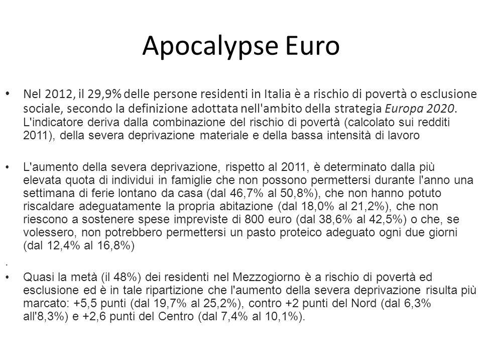 Apocalypse Euro Nel 2012, il 29,9% delle persone residenti in Italia è a rischio di povertà o esclusione sociale, secondo la definizione adottata nell ambito della strategia Europa 2020.