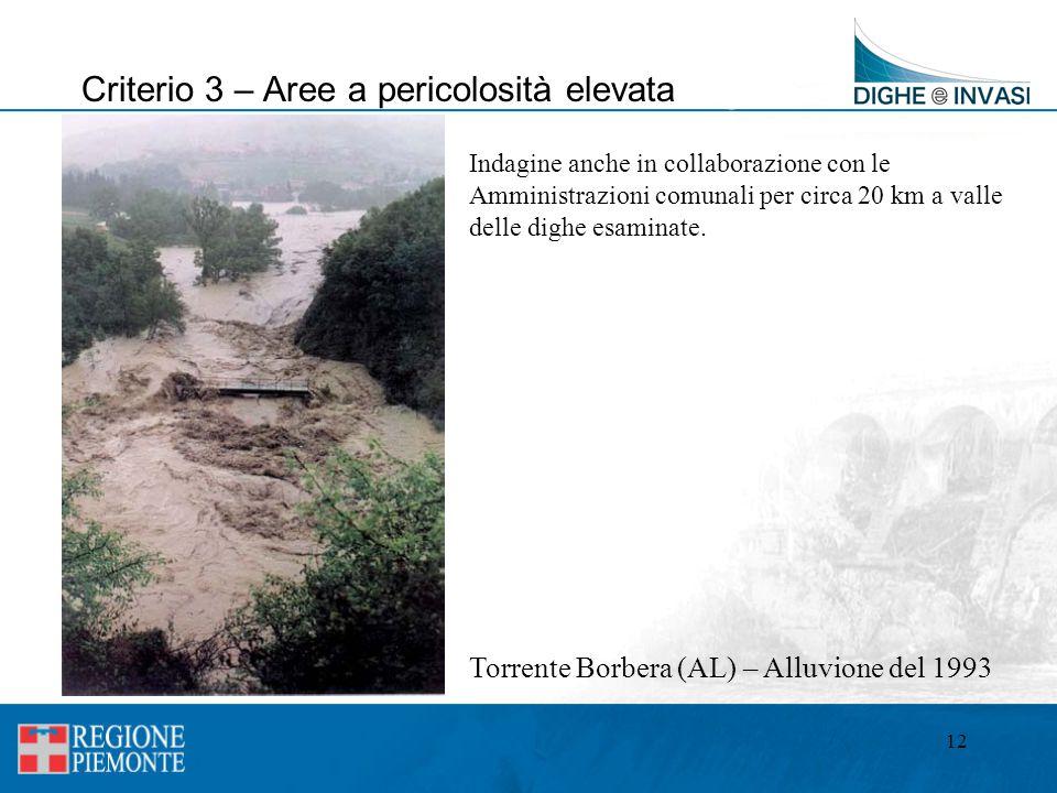 12 Criterio 3 – Aree a pericolosità elevata Torrente Borbera (AL) – Alluvione del 1993 Indagine anche in collaborazione con le Amministrazioni comunal