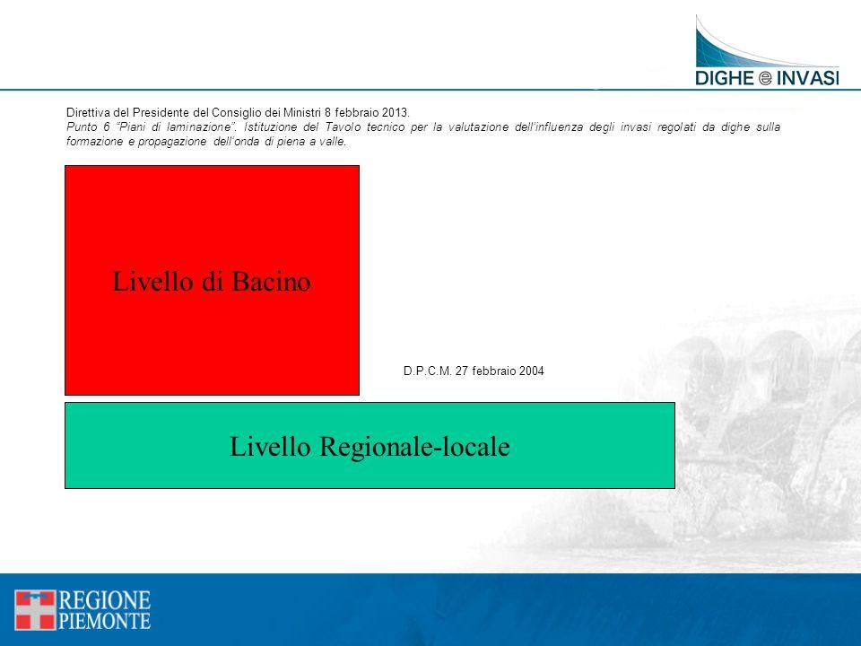 """Livello Regionale-locale Livello di Bacino Direttiva del Presidente del Consiglio dei Ministri 8 febbraio 2013. Punto 6 """"Piani di laminazione"""". Istitu"""