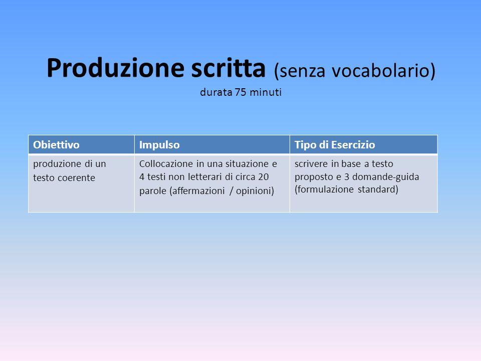 Produzione scritta (senza vocabolario) durata 75 minuti ObiettivoImpulsoTipo di Esercizio produzione di un testo coerente Collocazione in una situazio