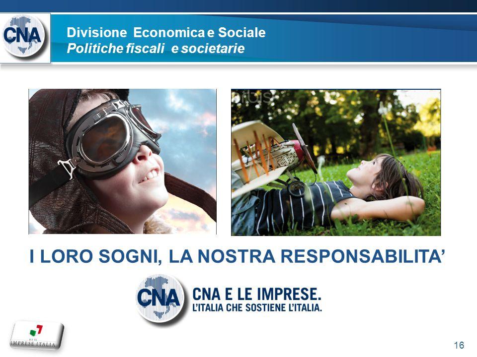 Agosto 2011 I LORO SOGNI, LA NOSTRA RESPONSABILITA' Divisione Economica e Sociale Politiche fiscali e societarie 16