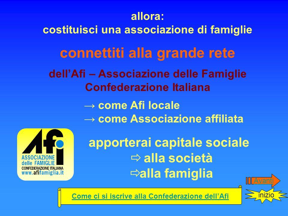 Per costituire un' associazione socia dell'Afi è sufficiente: Dopo avere contattato l'Afi Costituire una Associazione di nome Afi –Locale (Locale è il nome del paese o provincia sede della nuova associazione.