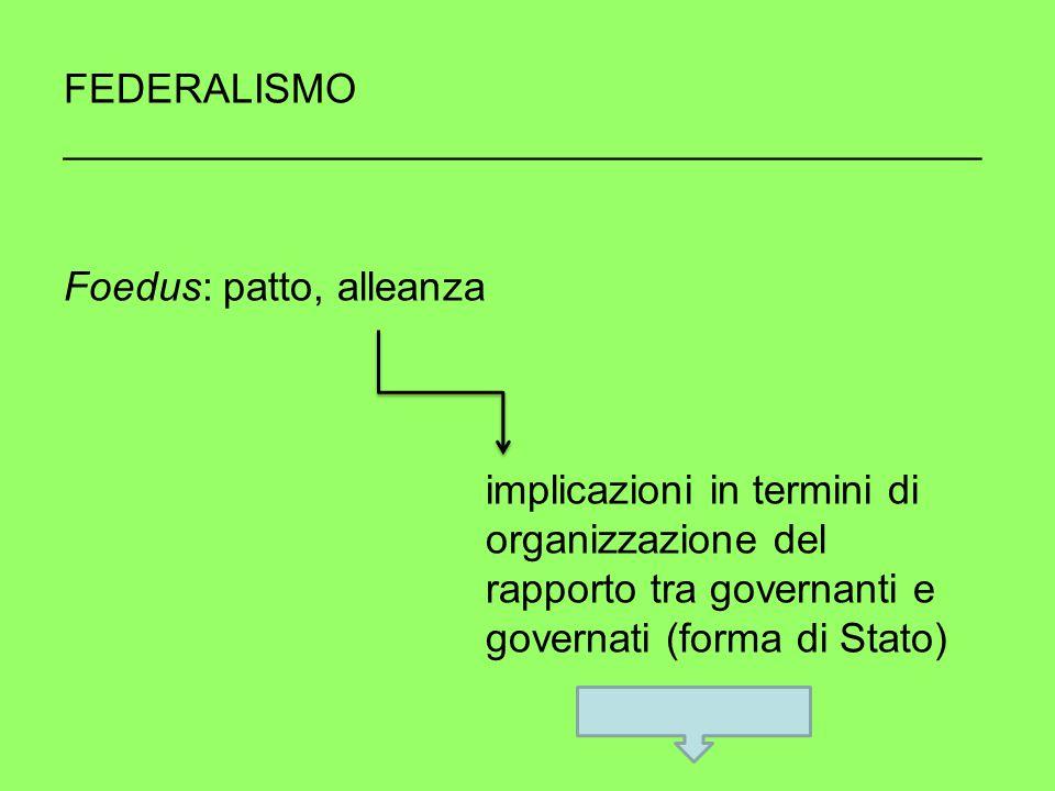 FEDERALISMO ________________________________________ Foedus: patto, alleanza implicazioni in termini di organizzazione del rapporto tra governanti e governati (forma di Stato)
