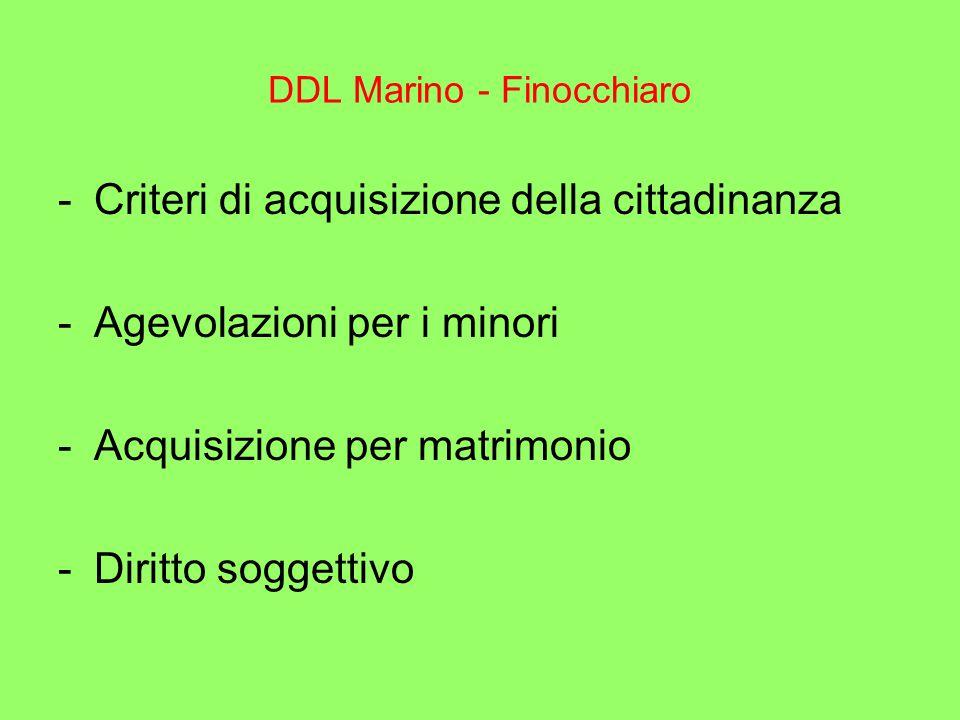 DDL Marino - Finocchiaro -Criteri di acquisizione della cittadinanza -Agevolazioni per i minori -Acquisizione per matrimonio -Diritto soggettivo