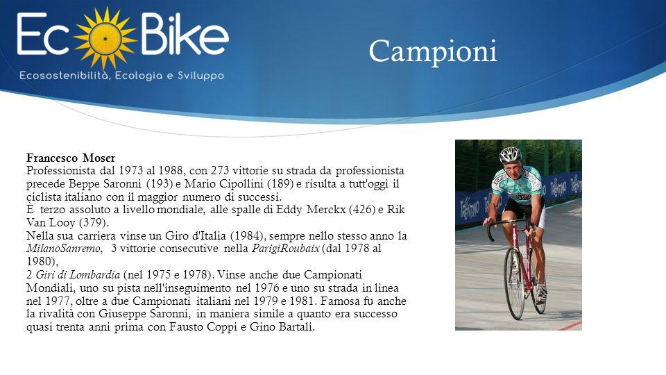 Francesco Moser Professionista dal 1973 al 1988, con 273 vittorie su strada da professionista precede Beppe Saronni (193) e Mario Cipollini (189) e risulta a tutt oggi il ciclista italiano con il maggior numero di successi.