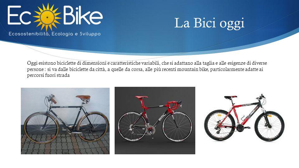 Oggi esistono biciclette di dimensioni e caratteristiche variabili, che si adattano alla taglia e alle esigenze di diverse persone : si va dalle biciclette da città, a quelle da corsa, alle più recenti mountain bike, particolarmente adatte ai percorsi fuori strada La Bici oggi