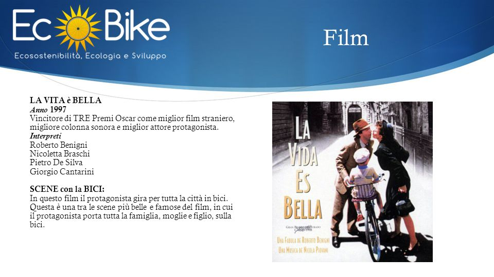 LA VITA è BELLA Anno 1997 Vincitore di TRE Premi Oscar come miglior film straniero, migliore colonna sonora e miglior attore protagonista. Interpreti