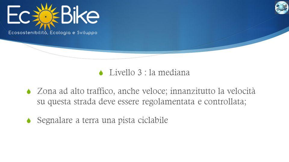  Livello 3 : la mediana  Zona ad alto traffico, anche veloce; innanzitutto la velocità su questa strada deve essere regolamentata e controllata;  Segnalare a terra una pista ciclabile