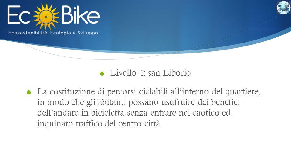  Livello 4: san Liborio  La costituzione di percorsi ciclabili all'interno del quartiere, in modo che gli abitanti possano usufruire dei benefici dell'andare in bicicletta senza entrare nel caotico ed inquinato traffico del centro città.