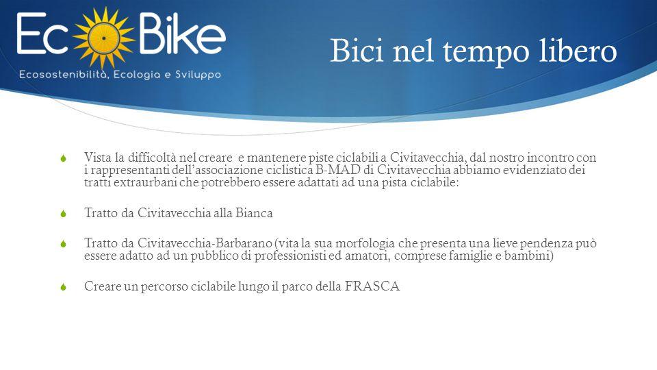 Bici nel tempo libero  Vista la difficoltà nel creare e mantenere piste ciclabili a Civitavecchia, dal nostro incontro con i rappresentanti dell'asso