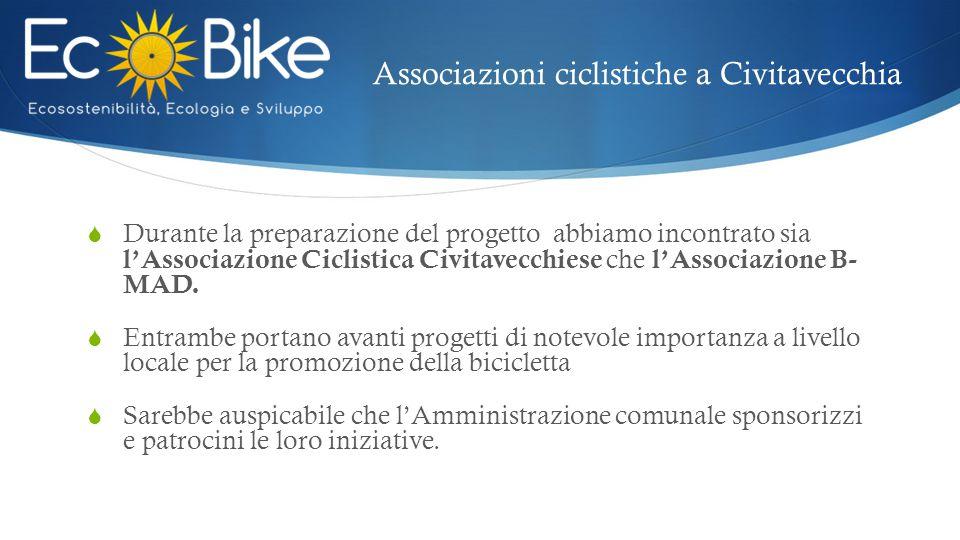 Associazioni ciclistiche a Civitavecchia  Durante la preparazione del progetto abbiamo incontrato sia l'Associazione Ciclistica Civitavecchiese che l'Associazione B- MAD.