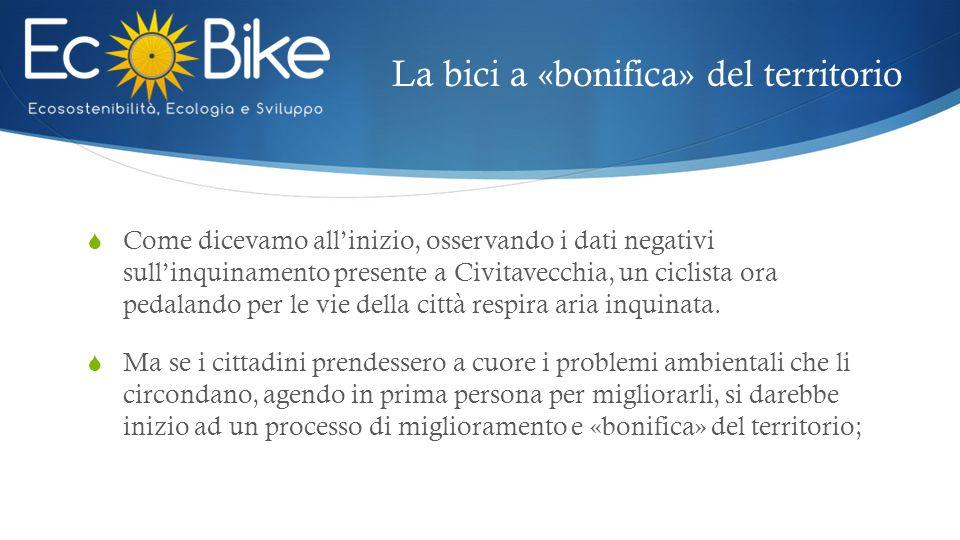 La bici a «bonifica» del territorio  Come dicevamo all'inizio, osservando i dati negativi sull'inquinamento presente a Civitavecchia, un ciclista ora pedalando per le vie della città respira aria inquinata.