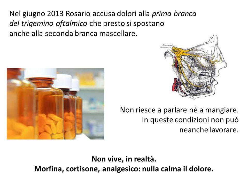 Nel giugno 2013 Rosario accusa dolori alla prima branca del trigemino oftalmico che presto si spostano anche alla seconda branca mascellare. Non riesc