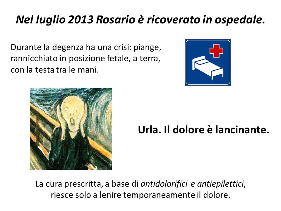 Nel luglio 2013 Rosario è ricoverato in ospedale. Durante la degenza ha una crisi: piange, rannicchiato in posizione fetale, a terra, con la testa tra