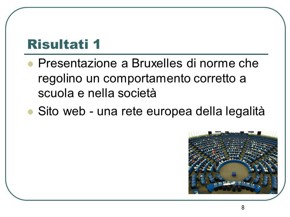 Risultati 1 Presentazione a Bruxelles di norme che regolino un comportamento corretto a scuola e nella società Sito web - una rete europea della legalità 8