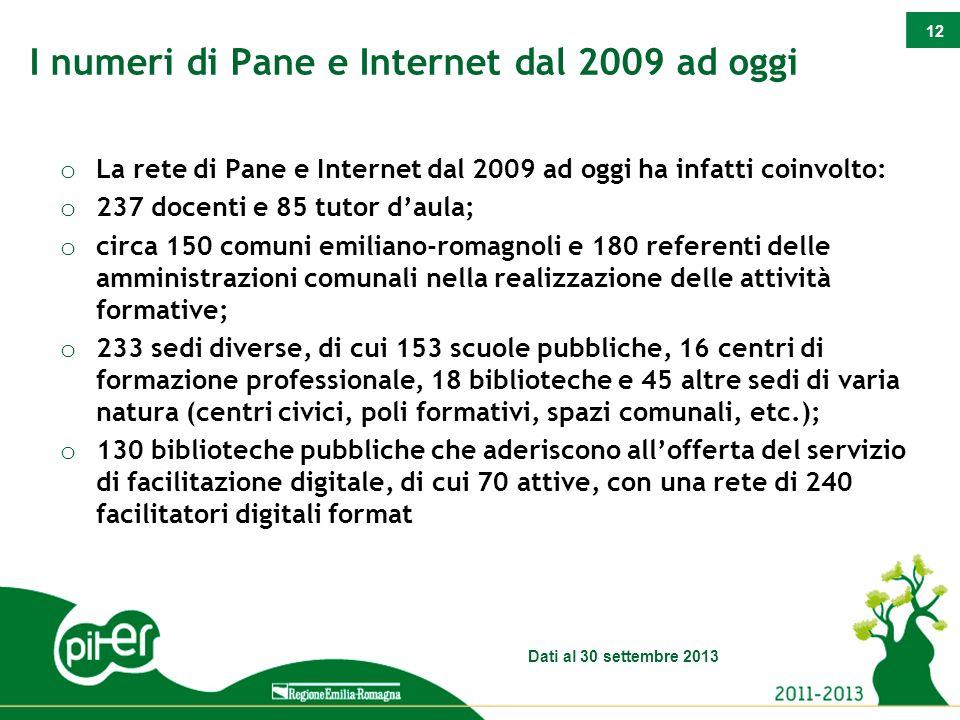 12 o La rete di Pane e Internet dal 2009 ad oggi ha infatti coinvolto: o 237 docenti e 85 tutor d'aula; o circa 150 comuni emiliano-romagnoli e 180 re