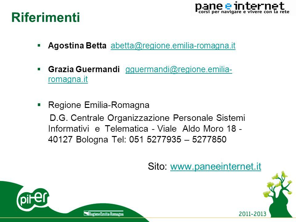 14 Riferimenti  Agostina Betta abetta@regione.emilia-romagna.itabetta@regione.emilia-romagna.it  Grazia Guermandi gguermandi@regione.emilia- romagna