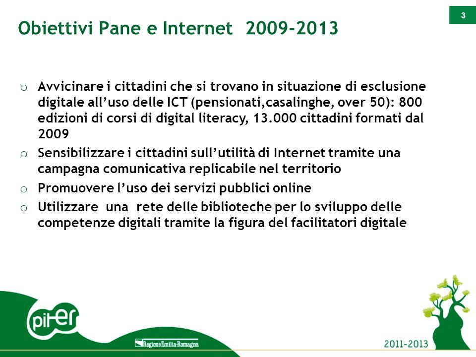 3 Obiettivi Pane e Internet 2009-2013 o Avvicinare i cittadini che si trovano in situazione di esclusione digitale all'uso delle ICT (pensionati,casal