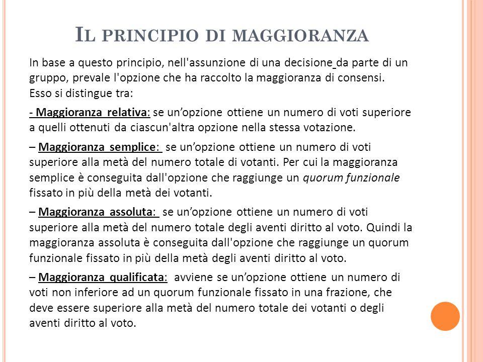 I L PRINCIPIO DI MAGGIORANZA In base a questo principio, nell assunzione di una decisione da parte di un gruppo, prevale l opzione che ha raccolto la maggioranza di consensi.